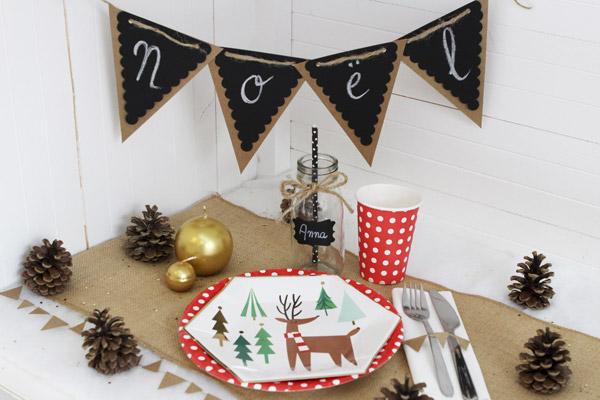 Décoration de table de Noël naturelle