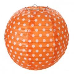 2 Lanternes 20 Cm À Pois Orange
