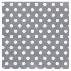 20 Serviettes grises À Pois
