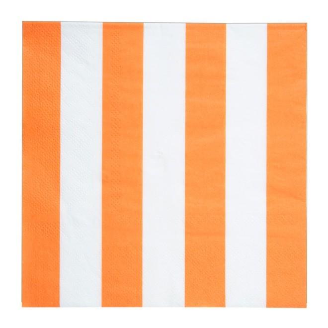 20 Serviettes À Rayures Orange