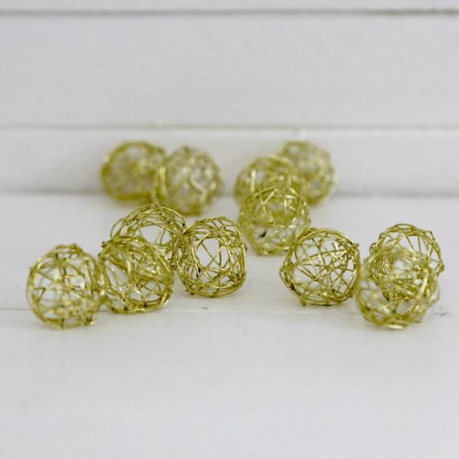 12 mini pelotes en métal or