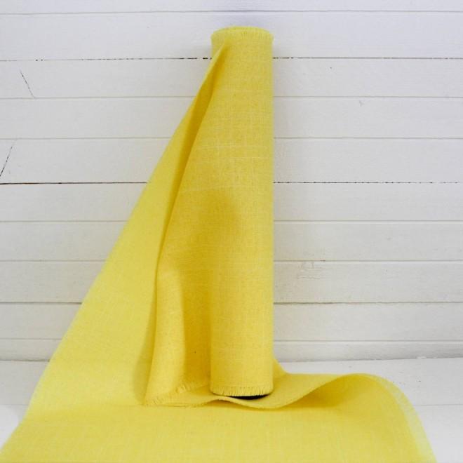 5 m de chemin de table en toile de lin jaune. Black Bedroom Furniture Sets. Home Design Ideas