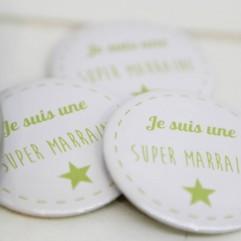 Coffret badge Marraine vert