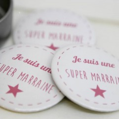 Coffret badge Marraine fuchsia