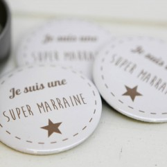 Coffret badge Marraine Marron