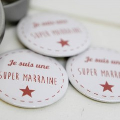 Coffret badge Marraine Rouge