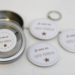 Coffret badge Parrain marron
