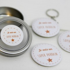 Coffret badge Parrain orange