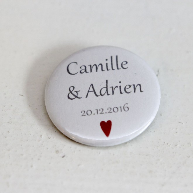 Badge personnalisable 37mm coeur