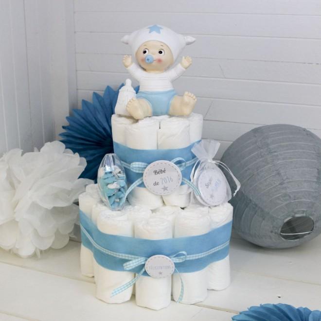 Gâteau De Couche Bleu Pour Idée De Cadeau De Naissance