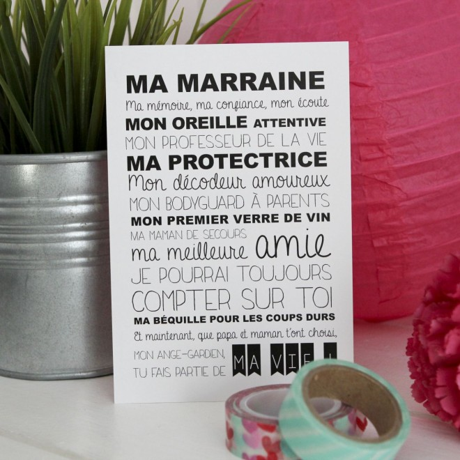 "Carte Postale ""ma marraine"""