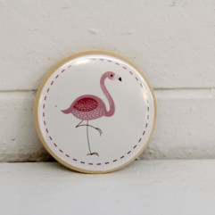 badge 37mm flamant rose