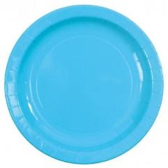 10 assiettes en carton turquoise
