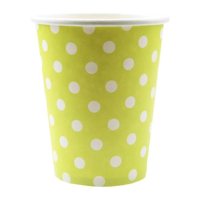 10 gobelets à pois vert