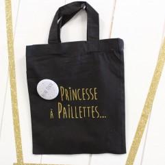 """Mini Sac """"Princesse à Paillettes"""" + badge personnalisé"""