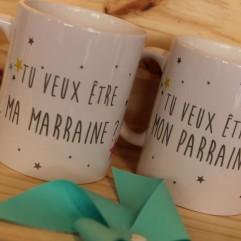 Duo de mugs Tu veux être mon parrain, ma marraine