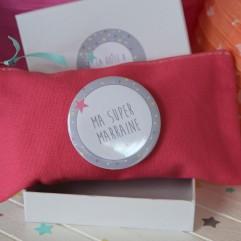 Pochette toile rose super marraine (C)