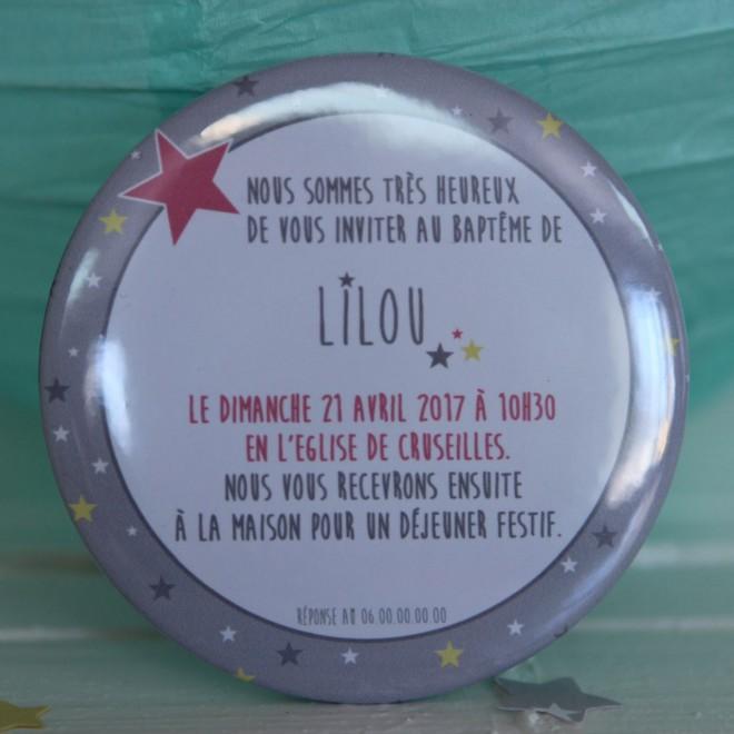 "Invitation Baptême ""étoiles fille"" magnet"