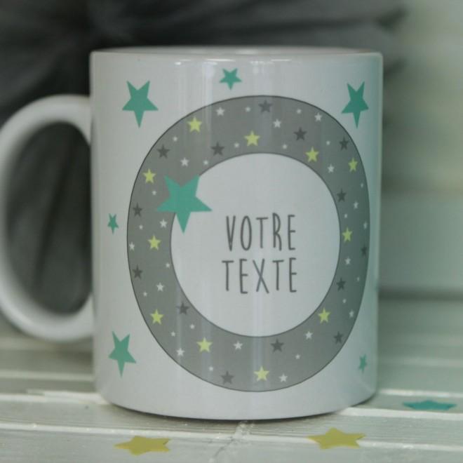 """Mug """"Votre Texte"""" étoiles bordure Garçon"""