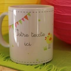 """Mug """"votre texte"""" poussin (F)"""