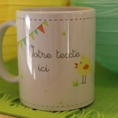 """Mug """"votre texte"""" poussin (G)"""
