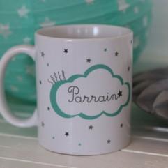 """Mug personnalisable""""super parrain"""" nuage"""