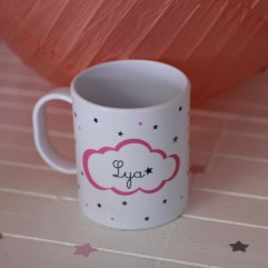 Tasse Polymère (plastique) nuage rose