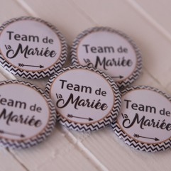 Lot de 5 Badges 37mm Team de la mariée (flêche)