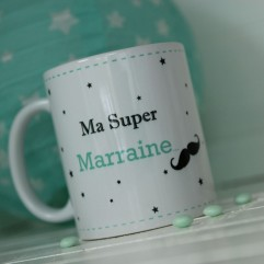 Mug personnalisable Ma super marraine moustache