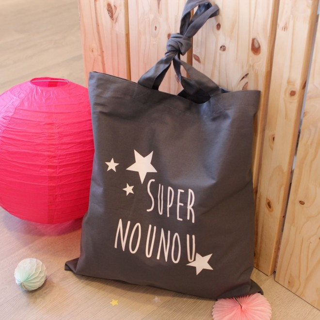 "Tote Bag ""Super Nounou"" étoiles"