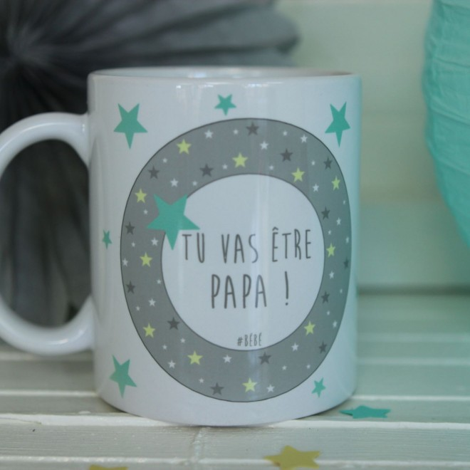 "Mug ""Tu vas être Papa"" étoiles bordure garçon"