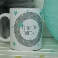 "Mug ""Tu vas être Tonton"" étoiles bordure garçon"