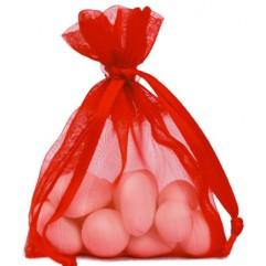 10 Sachets En Organdi Rouge