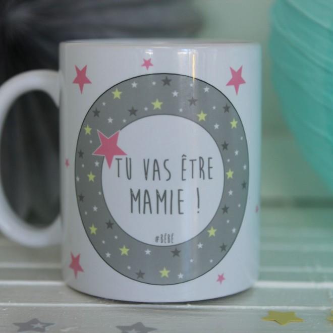 """Mug """"Tu vas être Mamie"""" étoiles bordure fille"""