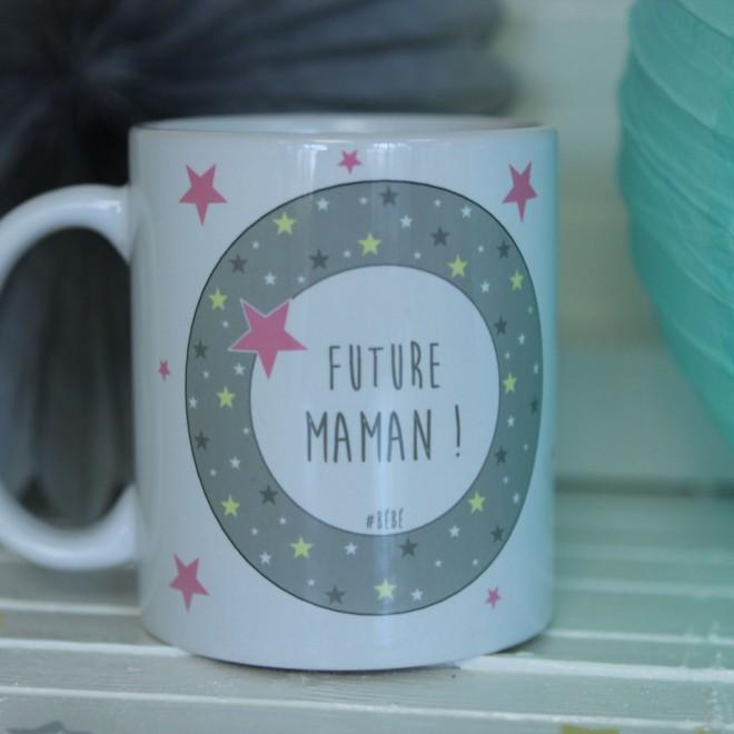 "Mug ""Future Maman"" étoiles bordure fille"