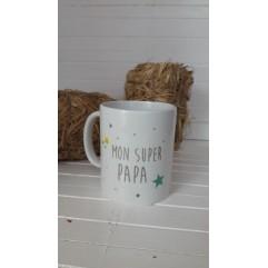 "Mug ""mon super papa"" étoiles"