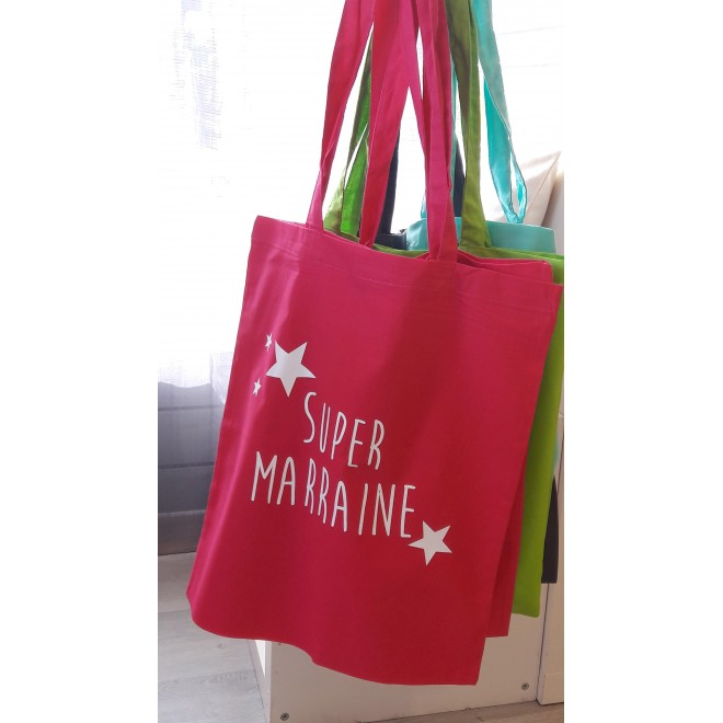 "Tote Bag ""Super Marraine"" étoiles"