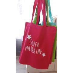 "Tote Bag ""Super Marraine"" étoiles"