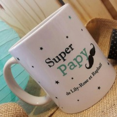 "Mug ""Super Papy"" moustache personnalisable"