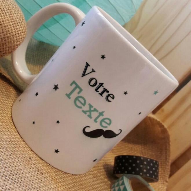 """Mug """"votre texte"""" moustache"""