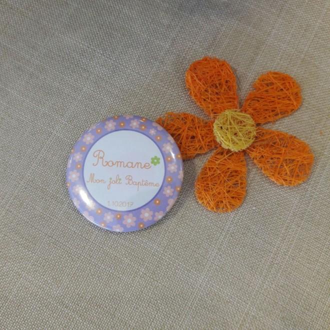 "Badge 37mm ""fleurs"""
