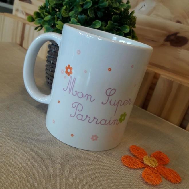"Mug ""super parrain"" Fleurs"
