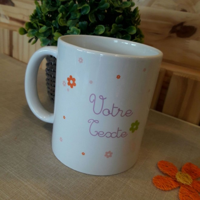 "Mug ""votre texte"" Fleurs"