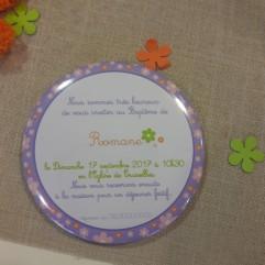 """Invitation Baptême """"fleurs"""" magnet"""