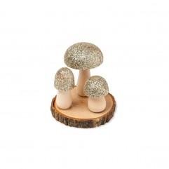 Champignon sur soclee bois