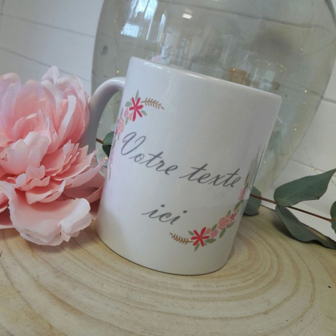"Mug ""votre texte"" Jardin Vintage"