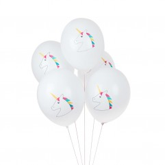 5 Ballons imprimé licorne