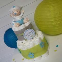 Gâteau de couches bébé bleu