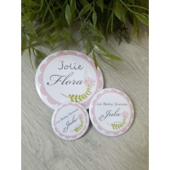 Badge & Co feuille rose