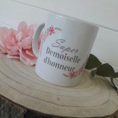 """Mug """"super demoiselle d'honneur"""" JV"""